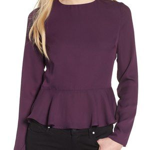 Line + Dot Open Back Peplum Top in Purple Size XS